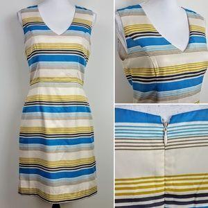 BANANA REPUBLIC Dress Blue Yellow Striped Career 6